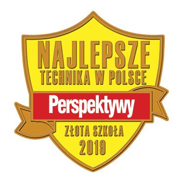 Potwierdzenie wyróżnienia - żółta tarcza z czerwoną wstążką i napisem Najlepsze Technika w Polsce, PERSPEKTYWY, Złota Szkoła 2019