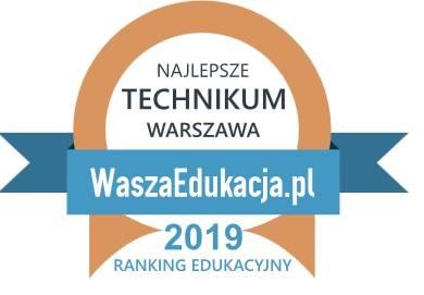 Symbol certyfikatu – brązowe półkole z niebieską wstążką i napisem NAJLEPSZE TECHNIKUM WARSZAWA WaszaEdukacja.pl 2019 Ranking Edukacyjny